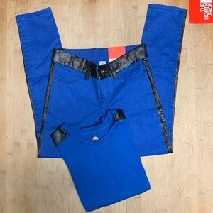 TOTAL GIRL Jeggings & Shirt Brilliant Blue Set NEW